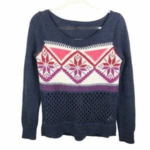 American Eagle Snowflake Knit Sweater S Holiday